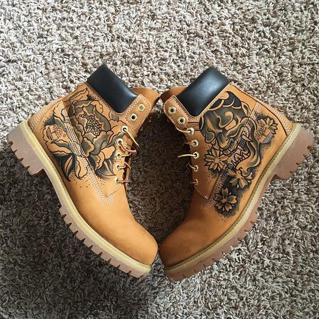 I ❤️ my custom #timberlands. #tattoo #boots #northwest #japaneseart #timberland