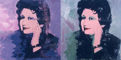 """Andy Warhol (American, 1928–1987).  Ileana Sonnabend.  1973. Acrylic and silkscreen ink on canvas, two panels, 40 x 80"""" (101.6 x 203.2 cm). The Sonnabend Collection. © 2013 Andy Warhol Foundation for the Visual Arts/Artists Rights Society (ARS), New York"""