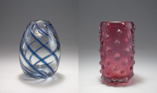 "(l-r) Carlo Scarpa's ""A canne sommerso a bollicine"" vase, circa 1934, and ""Corroso a bugne"" vase, from 1936.  (Courtesy Quittenbaum)"