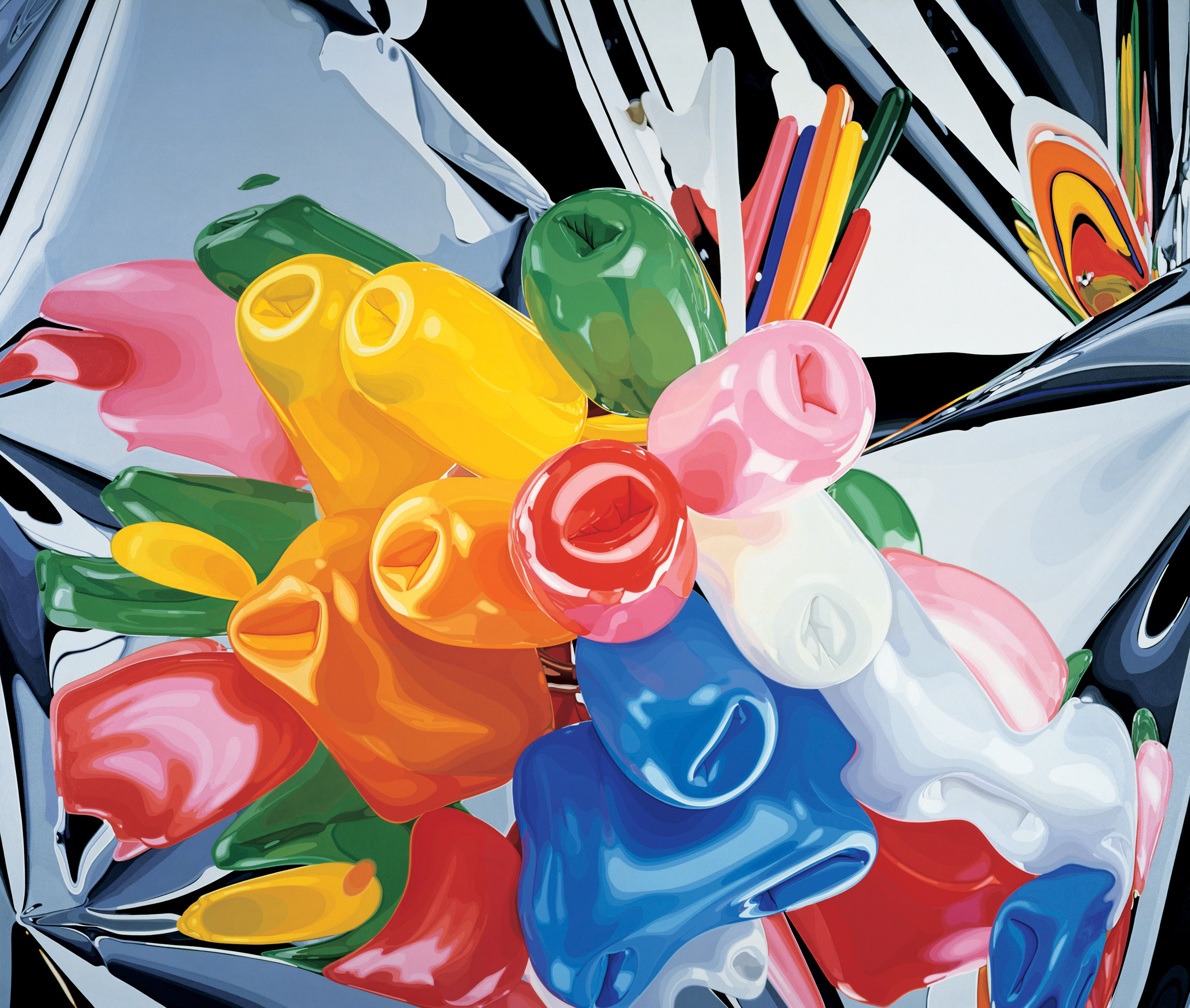 Jeff Koons,  Tulips , 1995–98. Oil on canvas; 111 3⁄8 × 131 in. (282.9 × 332.7cm). Private collection. © Jeff Koons
