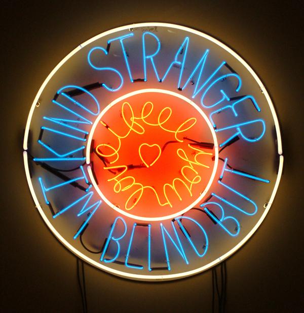 Ray Beldner. Kind Stranger, 2007. Neon, wood, electronics. 36 in. diameter