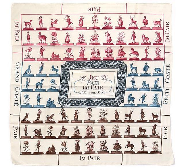 """ Le Jeu du Pair - Impair "" Hermès scarf designed by Hugo Grygkar, 1955,  Artcurial  (May 2013)"