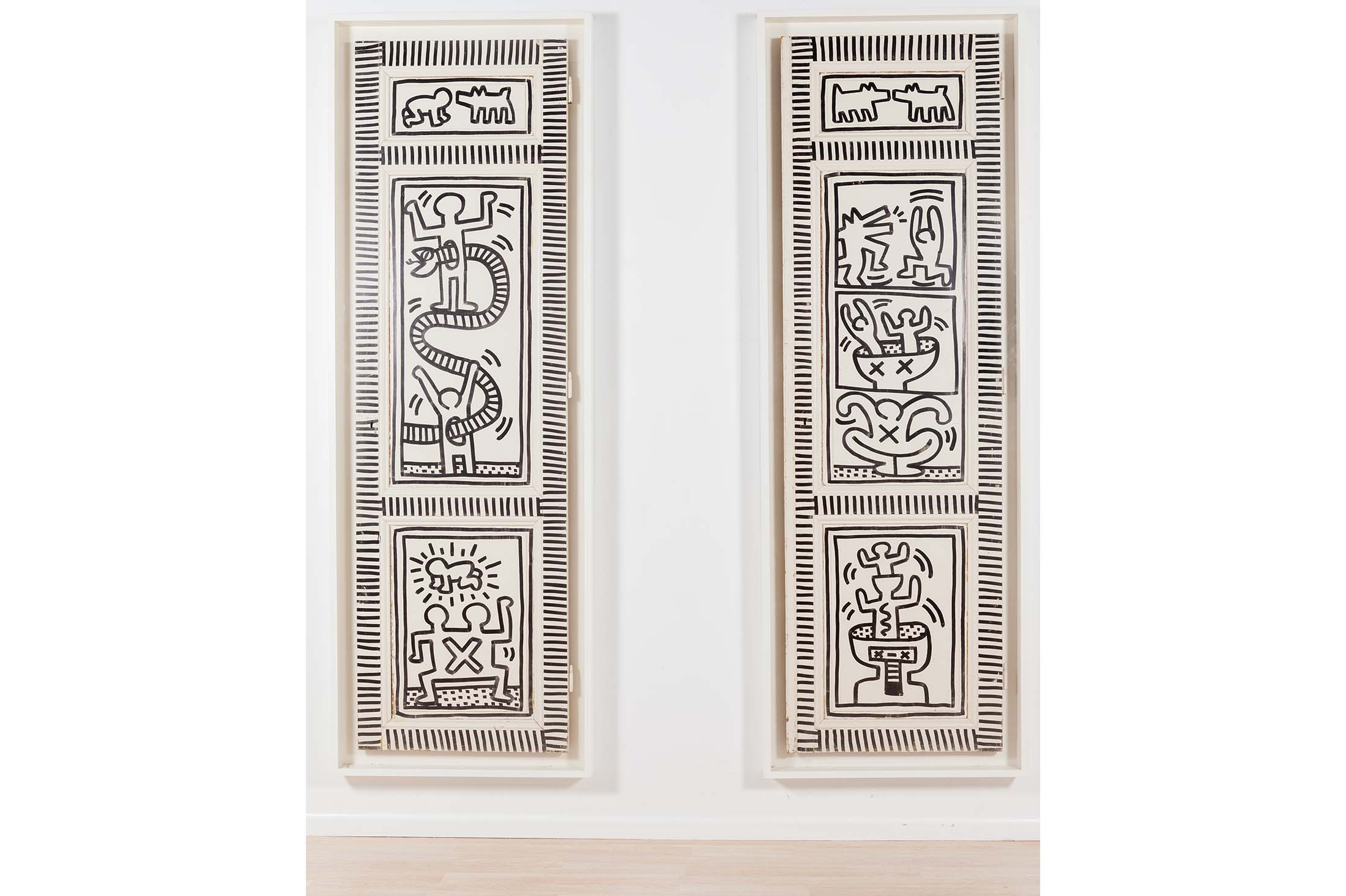 Keith Haring's  Snake and Man; Dogs and Men , executed in 1983.Source: Phillips