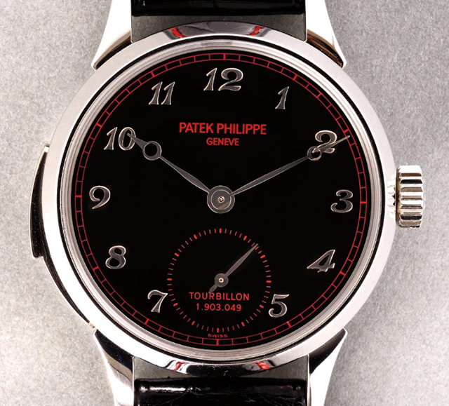 Lot 139 , Patek Philippe platinum minute repeating tourbillon wristwatch, 2001,  Phillips  (November 13)