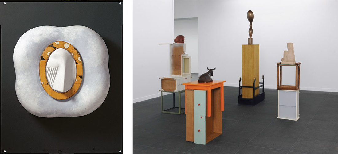 Left:Meret Oppenheim,  A Face in a Cloud, 1971.© Meret Oppenheim, VEGAP, Bilbao, 2016. Right:Florian Slotawa,  Bernese Pedestals (Berner Sockel) , 2010.© Florian Slotawa, VEGAP, Bilbao, 2016. Photos courtesy of Hermann und Margrit Rupf-Stiftung, Kunstmuseum Bern.