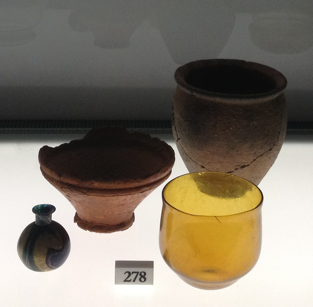 Glass vessels, artifacts from Anatolia, approx. 5 BC. Exhibition on the history of glass at the Roman Forum, Rome, Italy, 2012. Photo by Micaëla van Zwoll.