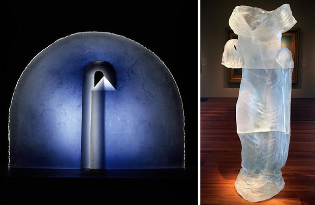 """Left : """"Arcus 1"""" (1991) by Stanislav Libenský (Czech Republic, 1921-2002) and Jaroslava Brychtová (Czech Republic, 1963-2002), mould-melted  (cast) glass , 75.0 x 98.5 x 11 cm, Ceramics Collection,  Victoria and Albert Museum , photo courtesy of the museum;  Right : """"Dress 3"""" by Karen LaMonte (American, 1967), 2001,  cast glass , collection of Dorothy and George Saxe on loan to the  MH de Young Museum , San Francisco. Photo by Micaela van Zwoll."""