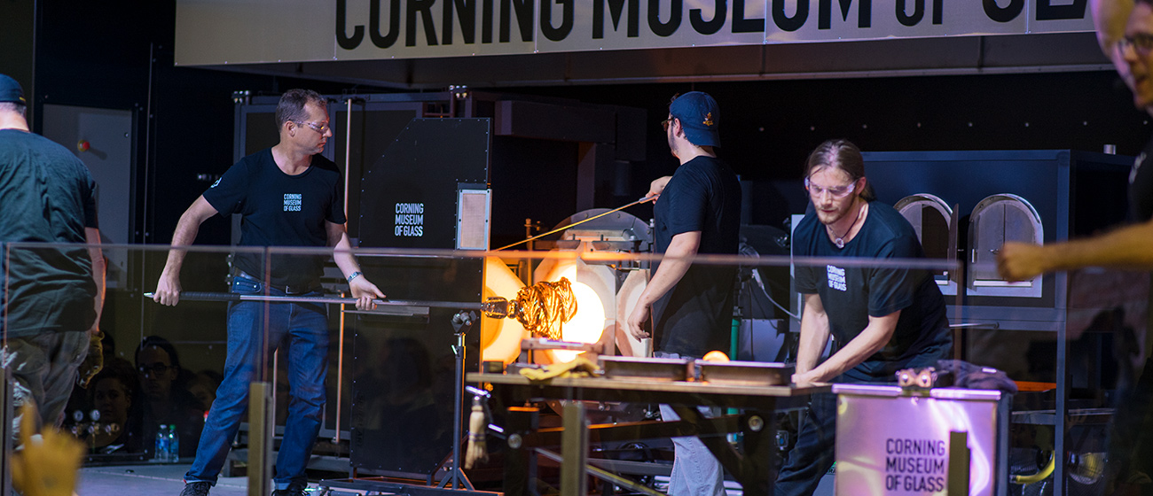 The Corning Museum of Glass Hot Shop (performance and exhibition) at SOFA.