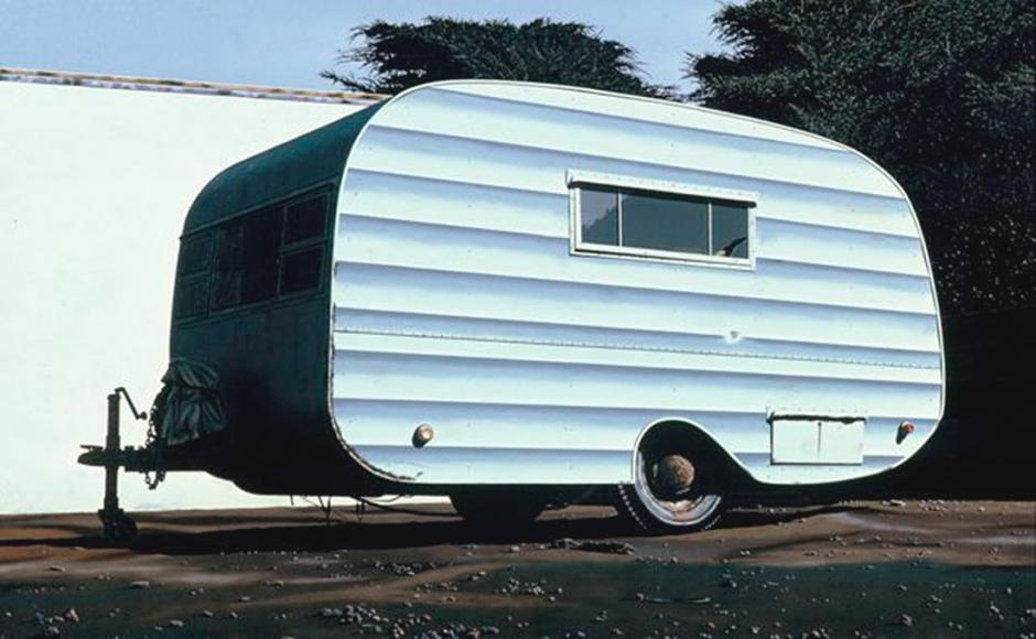 James Torlakson (American, b.1951). Behind Ted McMann's Garage, 1976. Oil on canvas, 43 in. x 68 in. SFAC 7