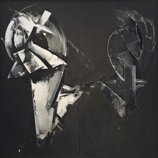 Jay DeFeo (American, 1929-1989). Masquerade in Black, 1974. Mixed media on masonite, 96 in x 9 in x 2.75 in. SFAC 45