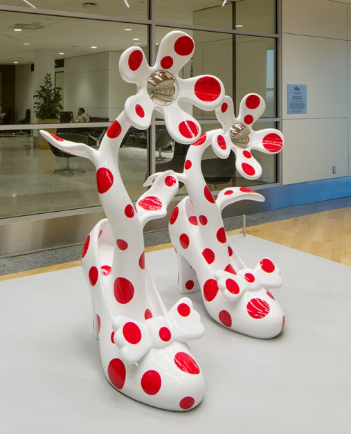 Yayoi Kusama (Japanese, b.1929). High Heels for Going to Heaven, 2014. Fiberglass-reinforced plastic, stainless steel, Left shoe: 61 x 29 1/2 x 37 3/8 in.; Right shoe: 49 5/8 x 27 1/2 x 37 7/8 in., SFAC 125