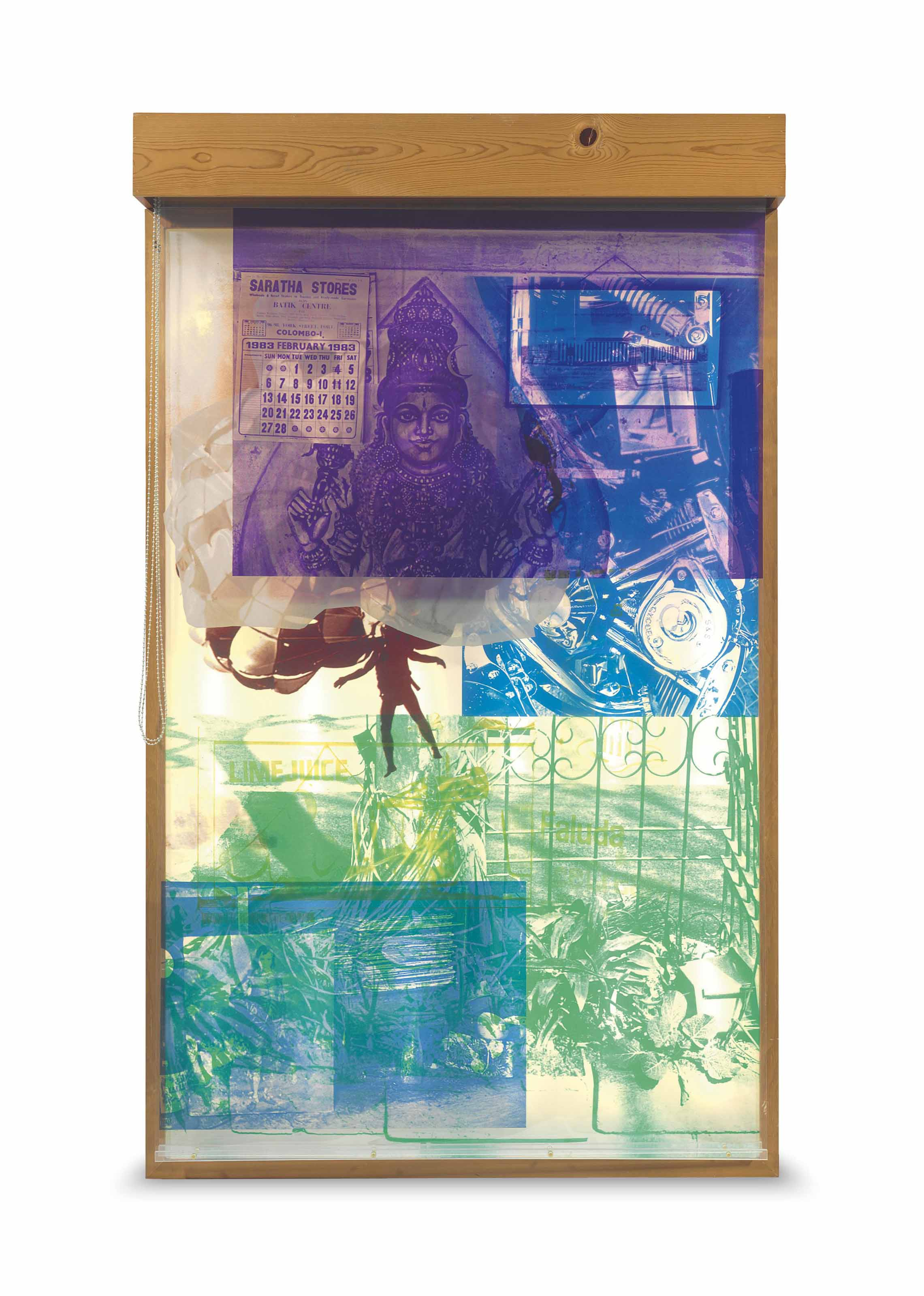 Robert Rauschenberg (1925-2008). Sling-Shots Lit #3, 1985. Lithograph and screenprint on paper and assemblage with sailcloth, Mylar, wooden lightbox, fluorescent light fixture, aluminum moveable window shade system and Plexiglas bars. 84 1/2 x 50 1/4 x 12 1/2 in. (214.6 x 127.6 x 31.8 cm). This work is from an edition of 25 plus seven artist's proofs.