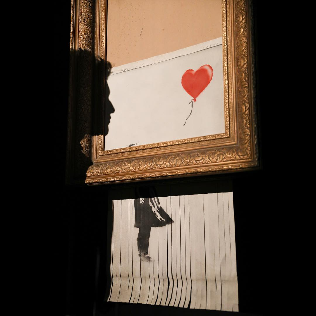 Banksy's  Love Is in the Bin  (2018). Courtesy of Sotheby's.