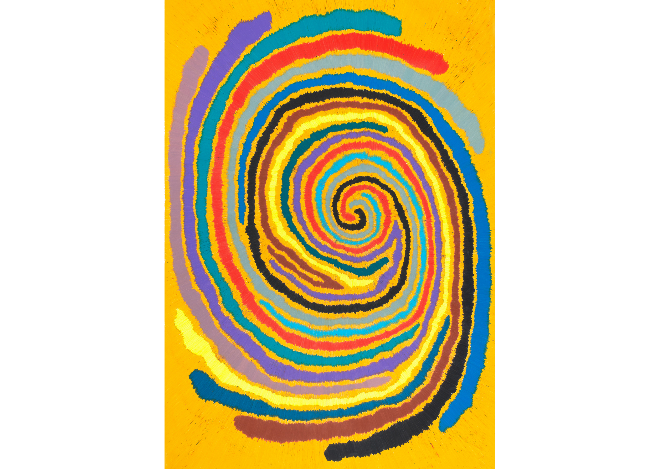 Untitled (Multicolor Light Based Time Loop), 2015, color pencil on paper, 73 x 51 in.