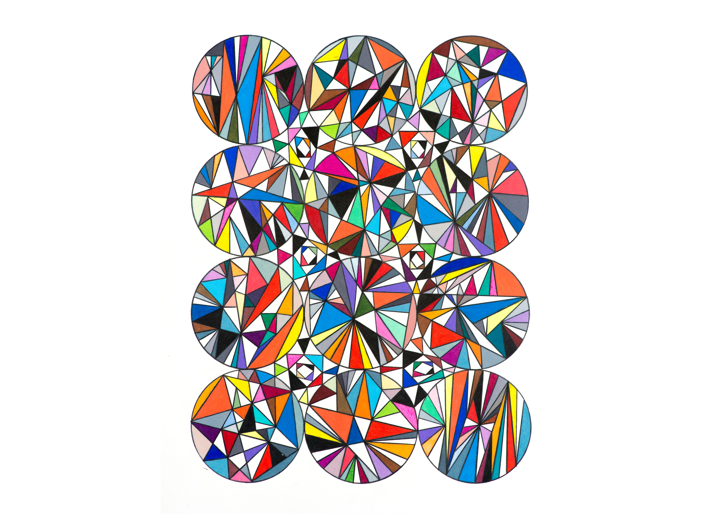 Versor Parallel (Physical Template in Twleve Spheres), 2013, colored pencil on paper, 22 x 16 in.