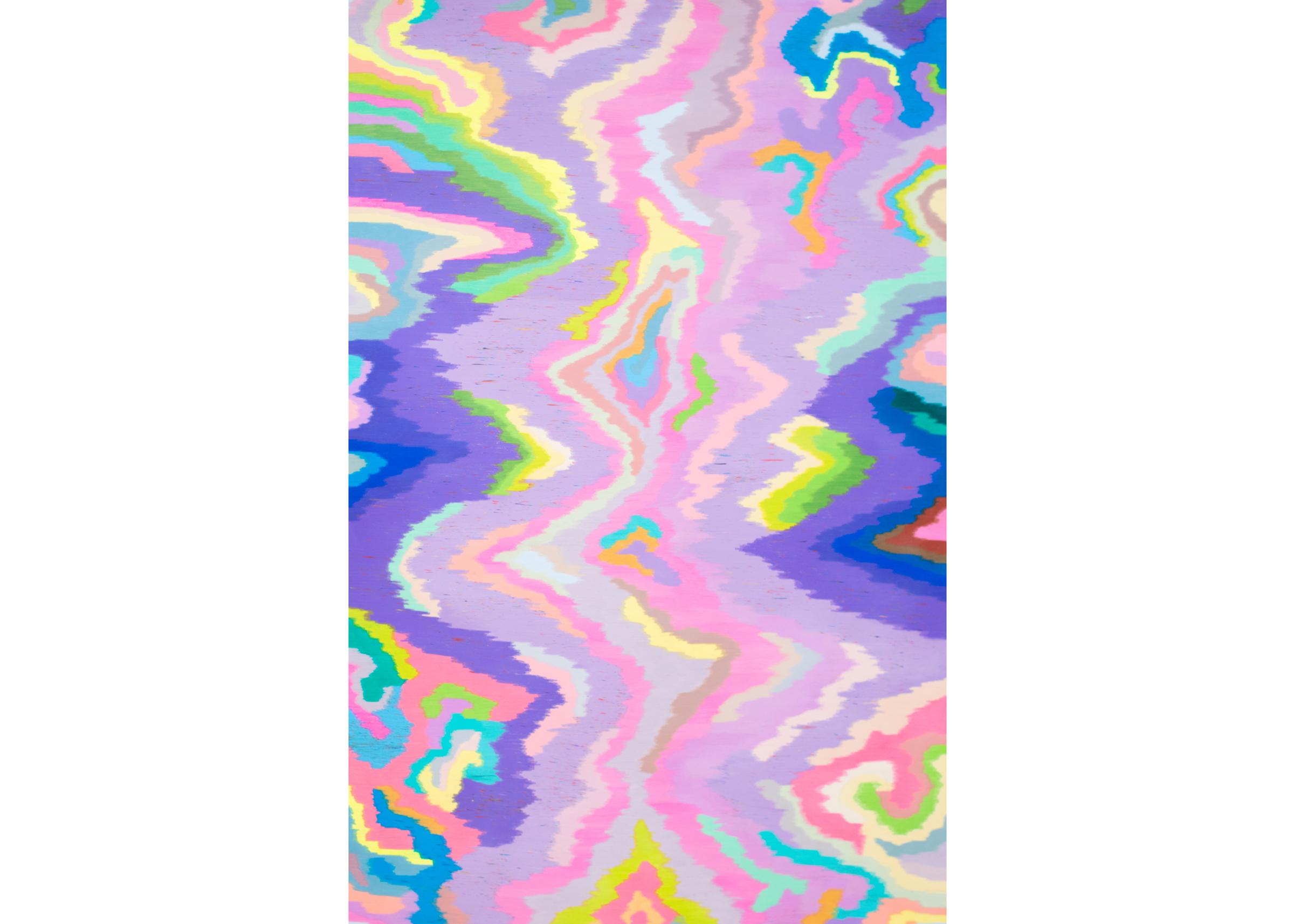 Scrambled Channel (Rainbow Bridge), 2014, color pencil on paper, 80 x 51 in.