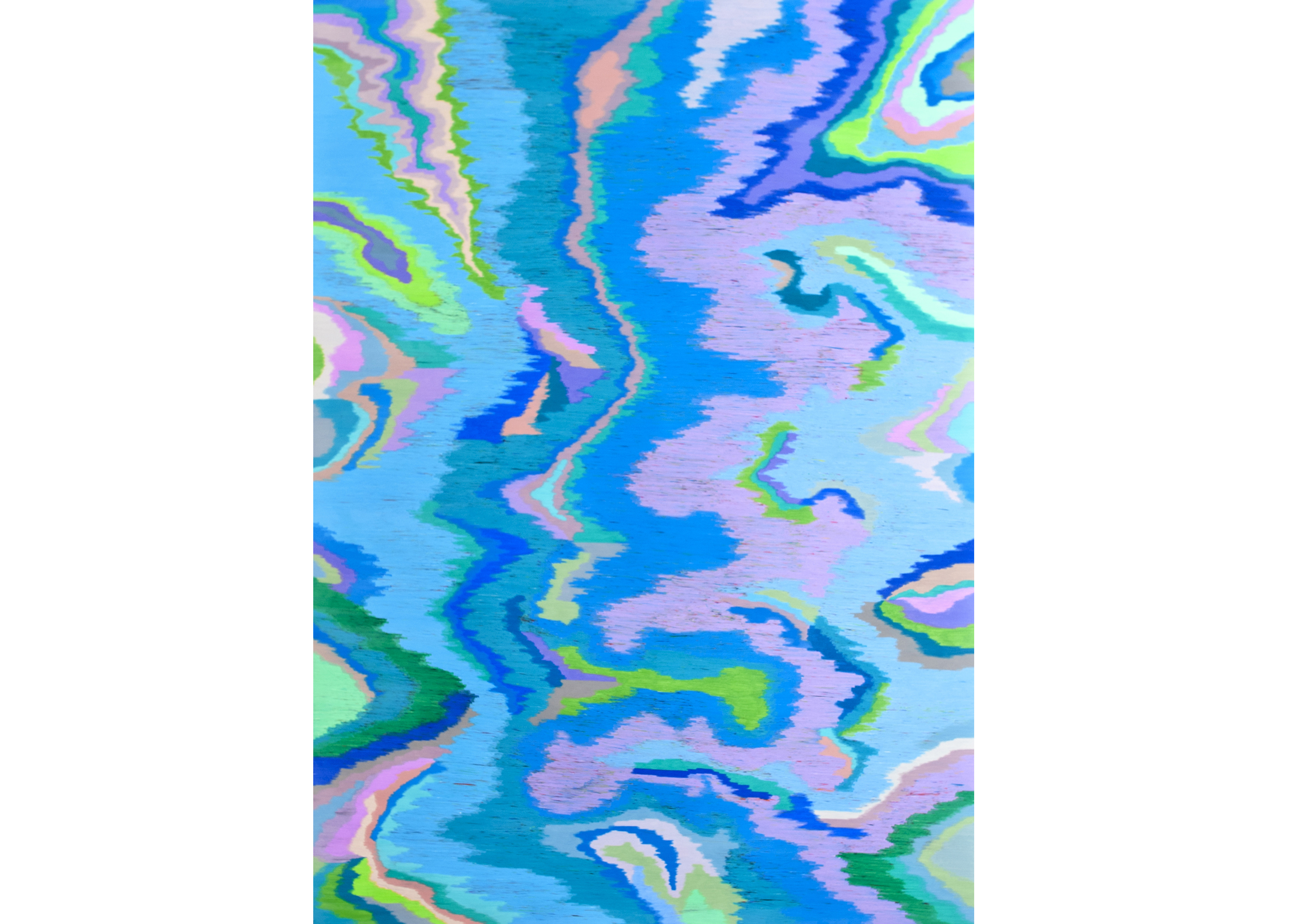 Scrambled Channel (Visualizing the light Spectrum of Aquamarine), 2013, color pencil on paper, 72 x 51 in.