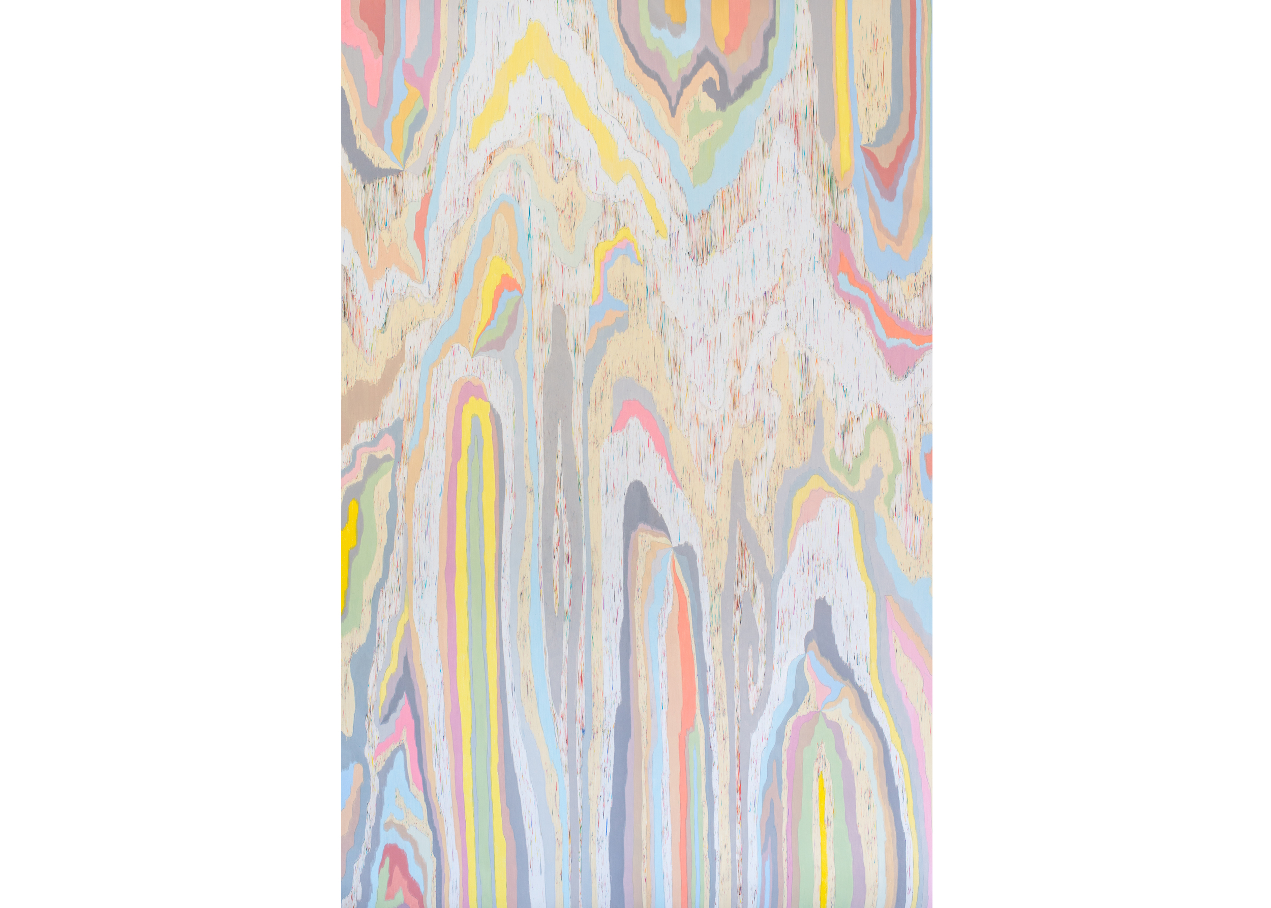 Scrambled Channel (3R1), 2014, color pencil on paper, 80 x 51 in.