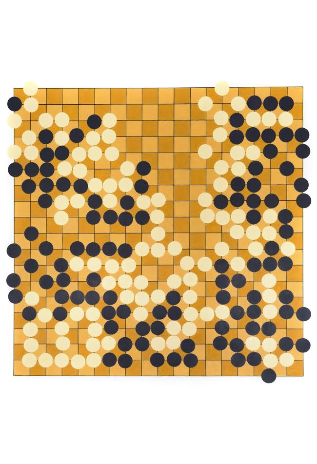 Go Board (2013 Chinese Championship Match), 2015, color pencil on paper, 64 x 42 in.
