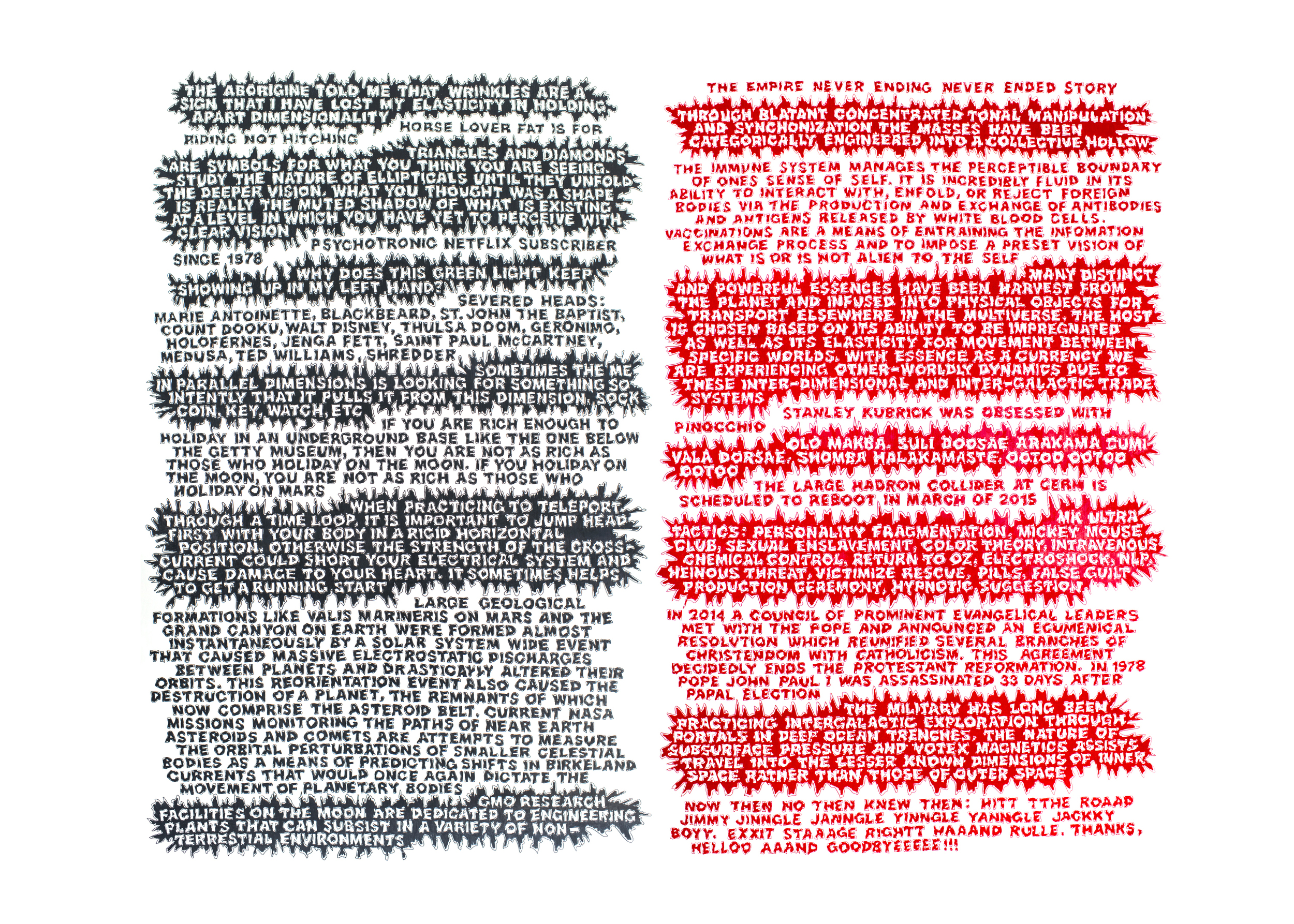Dennis Koch and Talitha Wall, Catch-22 (diptych),  color pencil on paper, 77 x 99 in.