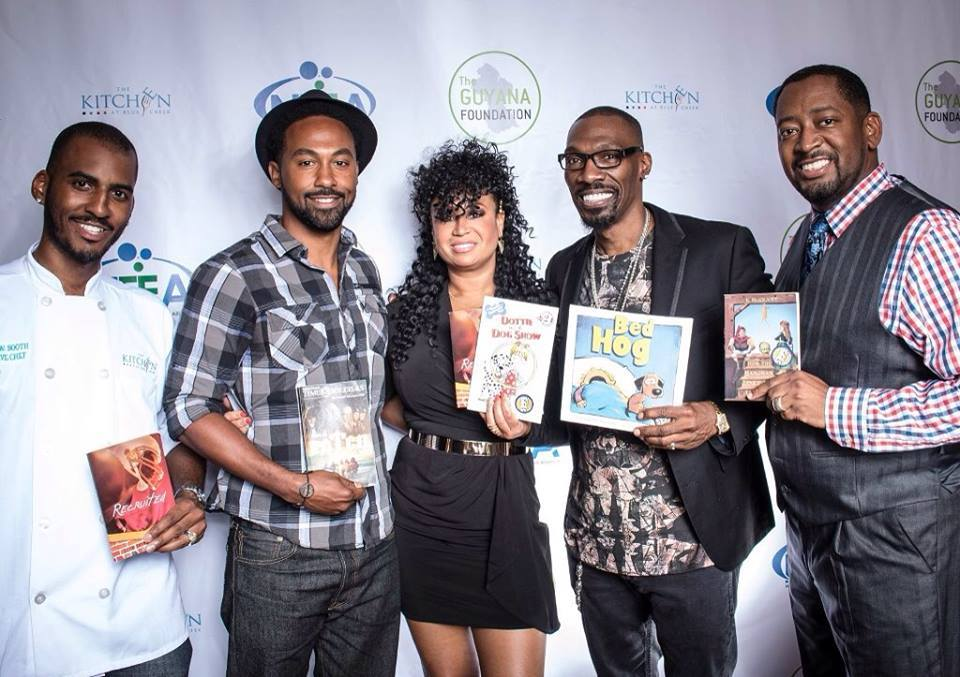 Cece Penniston and other celebrity guests supporting a book drive for the Guyana Foundation.