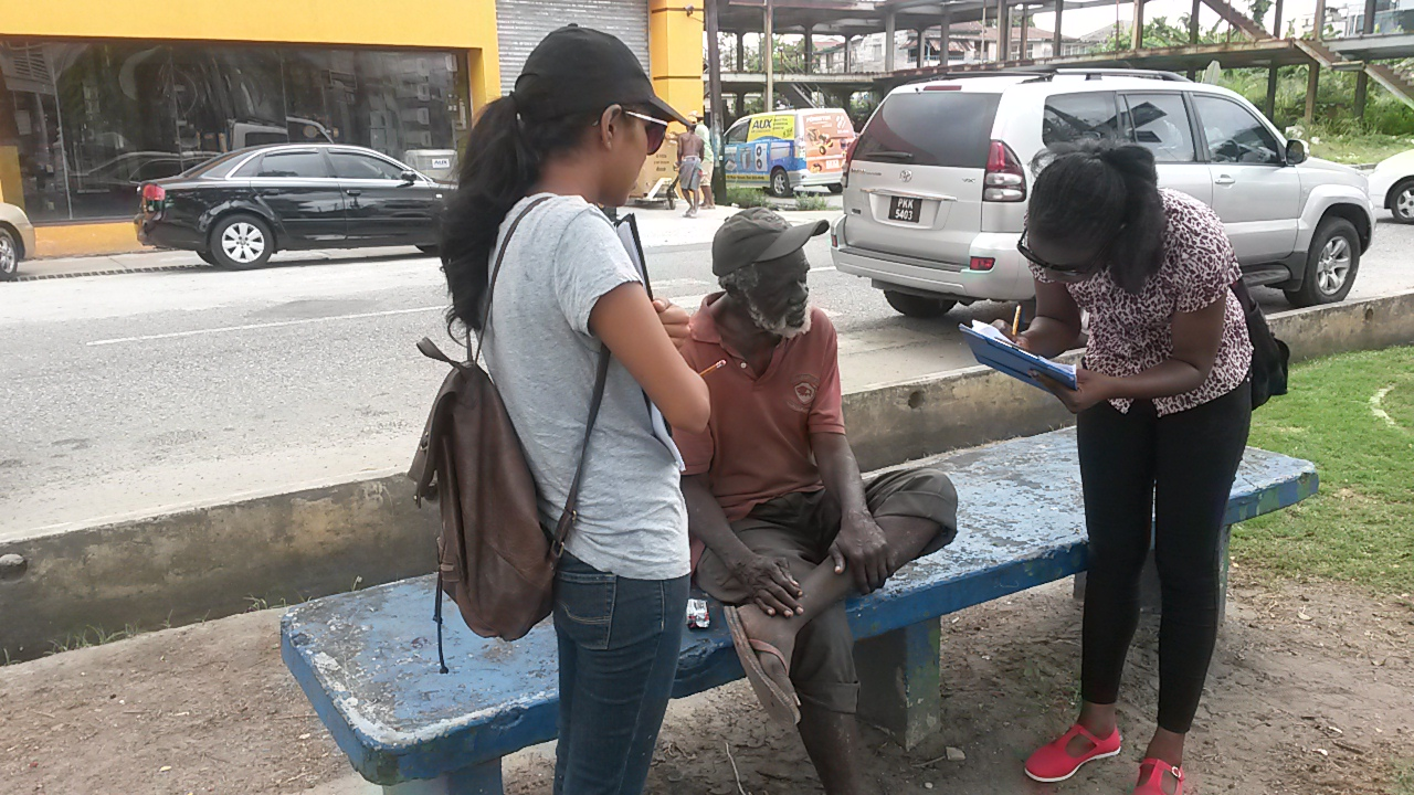 Guyana Foundation volunteers on an outreach to homeless individuals in Georgetown.