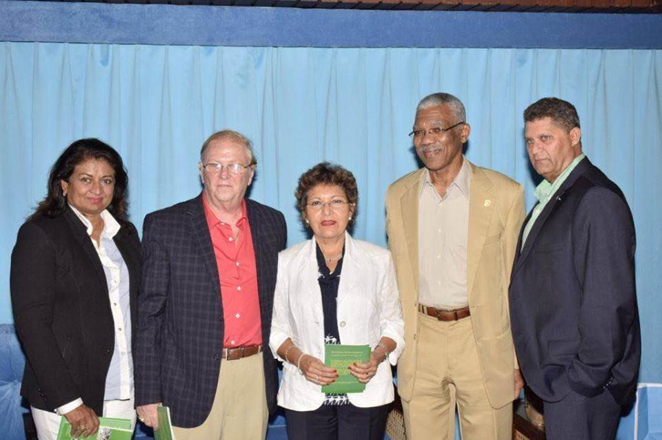 L-R GF Founder Supriya Singh-Bodden, John and Leticia Homlish, H.E. President David Granger and Mr. Robert Bodden.