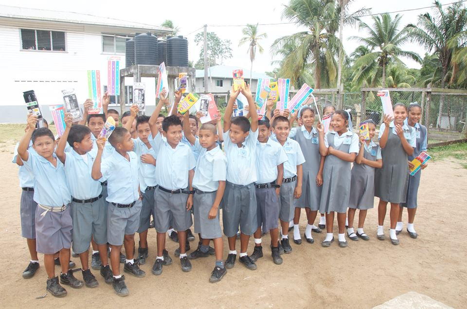 Students of Santa Rosa Primary School with donations from the Guyana Foundation