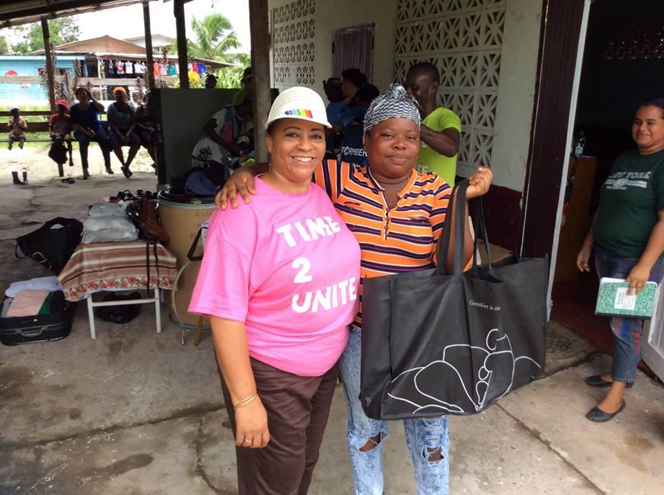GF volunteer Deborah Blackmore with one of the beneficiaries in Soesdyke.