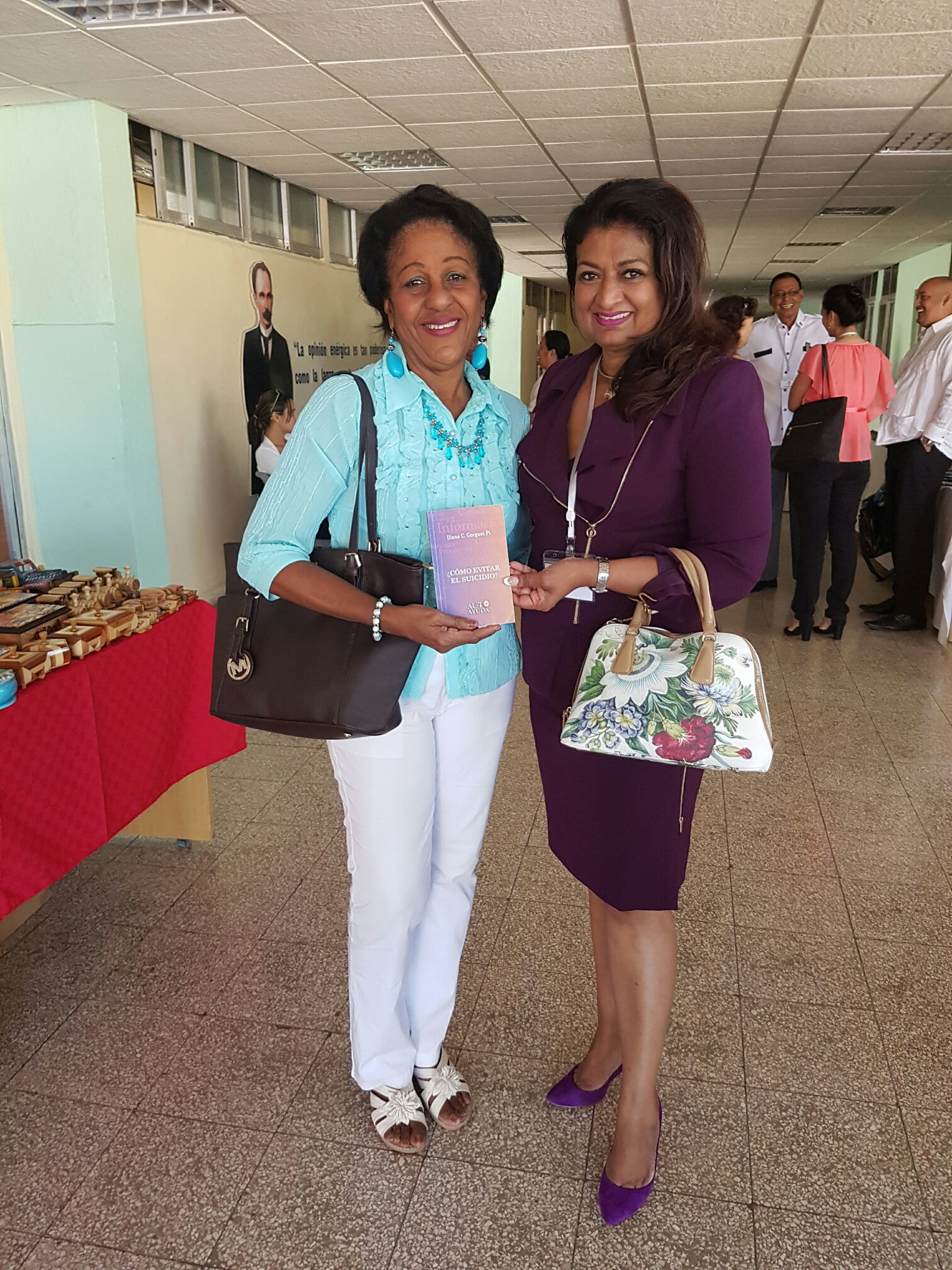 A participant with Mrs. Singh-Bodden at the Conference.