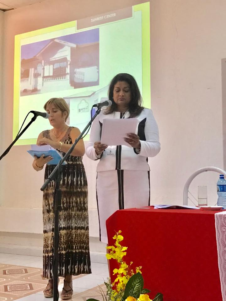 Founder of the Guyana Foundation, Mrs. Supriya Singh-Bodden, CCH delivering her presentation to the Conference through an interpreter.