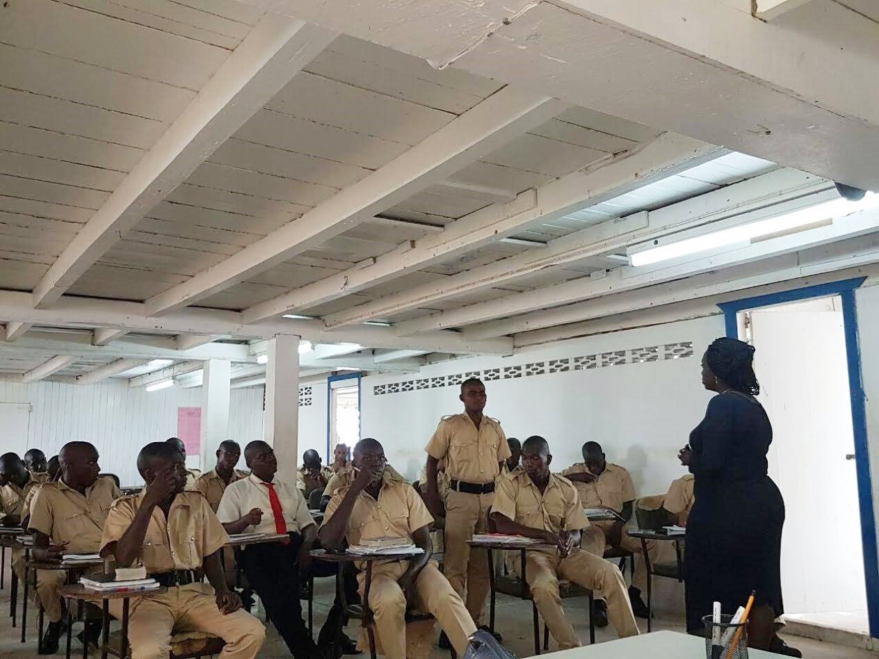 Manager of the Sunrise Center, Ms. Miriam Hinds conducting a workshop session with new police recruits in Essequibo, Region No. 2