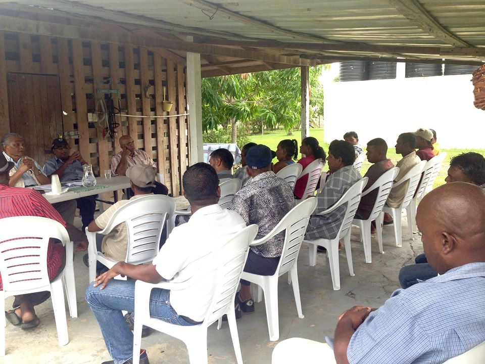 Farmers of Hague, West Coast Demerara at a meeting with NARI officials some months ago.