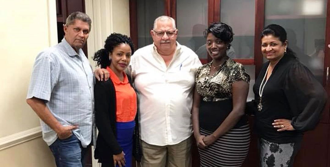 Guyana Foundation Retreat in the Grand Cayman, November 2017. Pictured are Mr. Robert Bodden; Madonna Paul of GF Sunrise Center; Senior Statesman and former Premier of the Cayman Islands , Hon Mr Kurt Tibbetts OBE; Managing Director of the Sunrise Center, Miriam Roberts-Hinds; and Founder of GF, Mrs. Supriya Singh-Bodden.