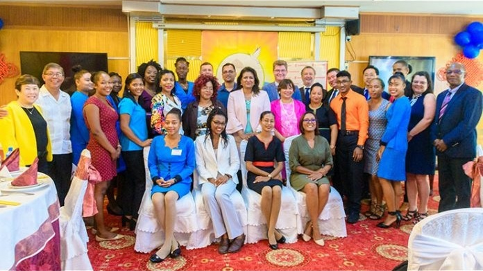 Group photo with Team members of the Guyana Foundation and the Sunrise Center with the diplomatic corps.