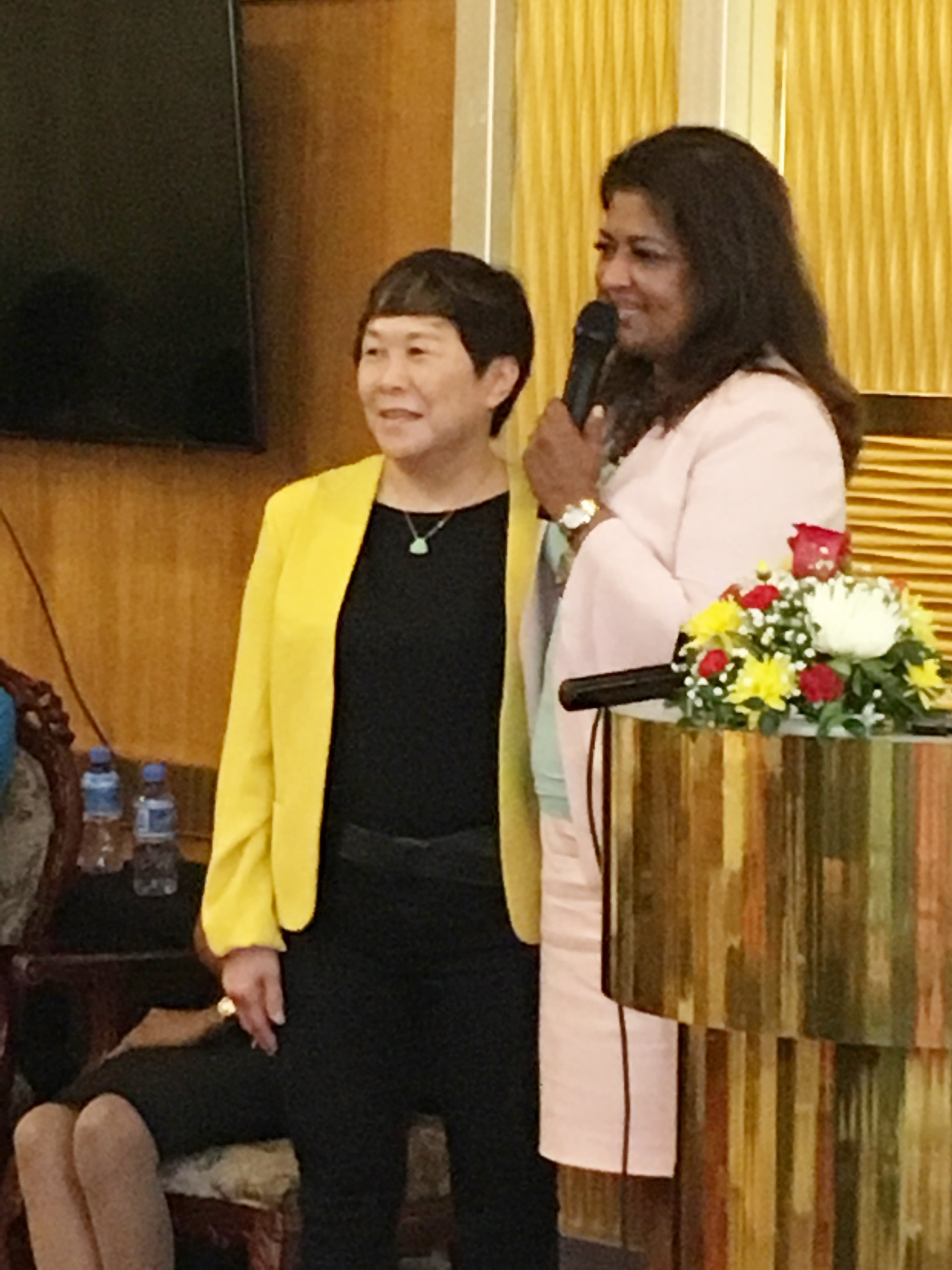 Mrs Che Jian Ping, Trustee of the Guyana Foundation and Owner of the New Thriving Restaurant with Founder of the Guyana Foundation, Supriya Singh-Bodden.