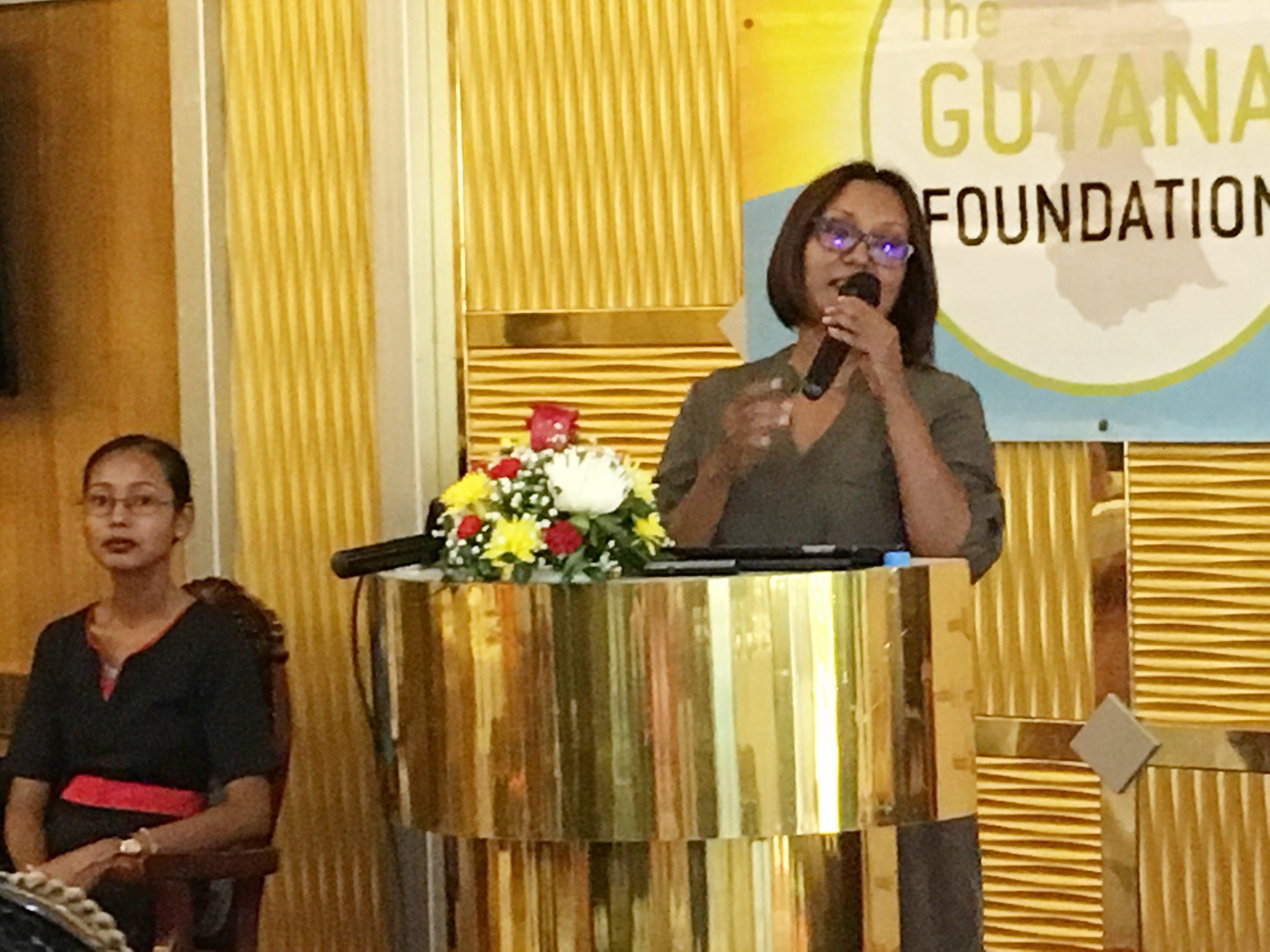 Ms. Jennifer Cipriani, Scotiabank Marketing Manager delivering brief remarks.