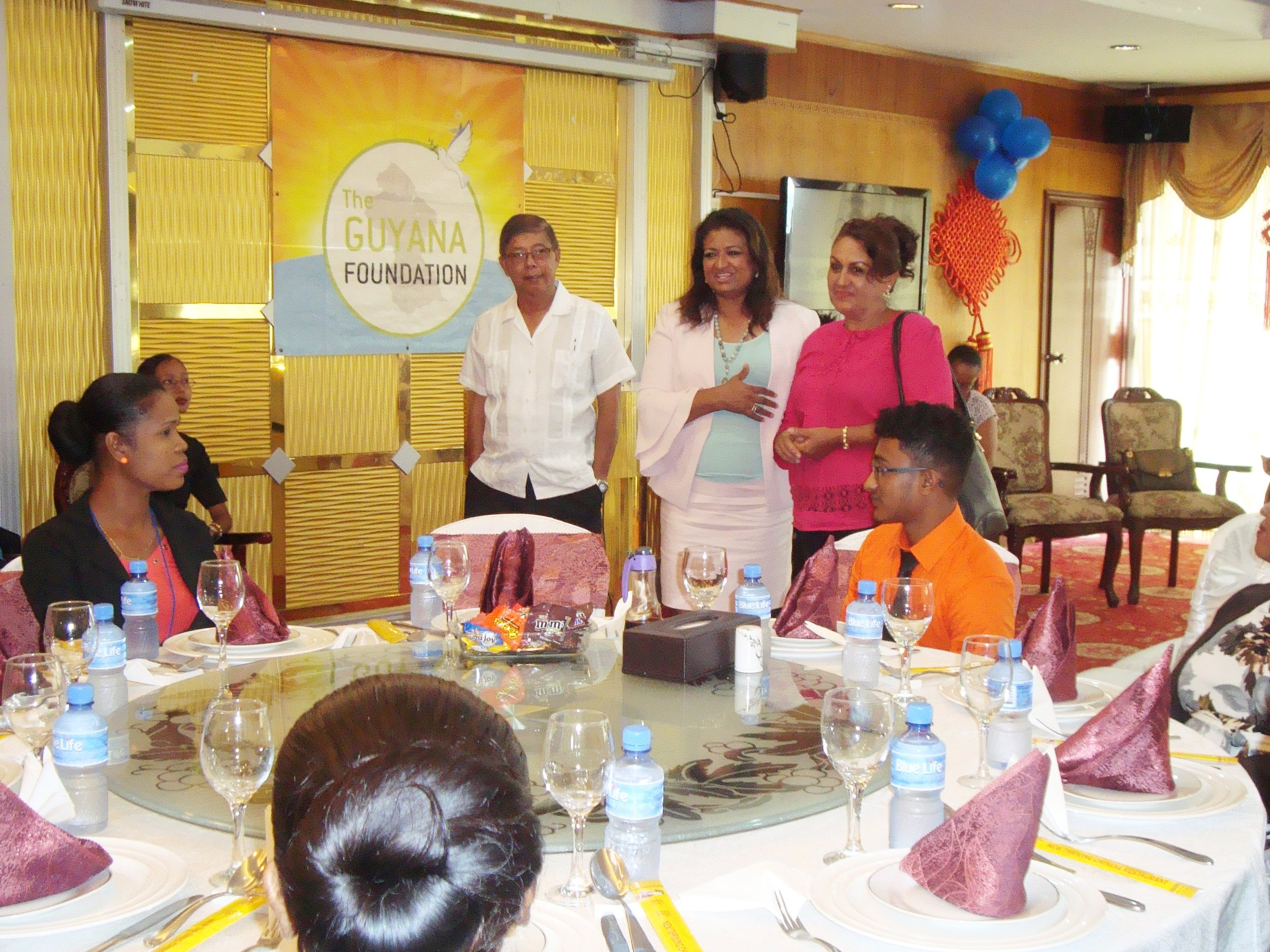 Press Conference/Luncheon: Ms. Singh-Bodden introducing Whanita Phillips of Santa Rosa, Moruca to the Sunrise Center Team.