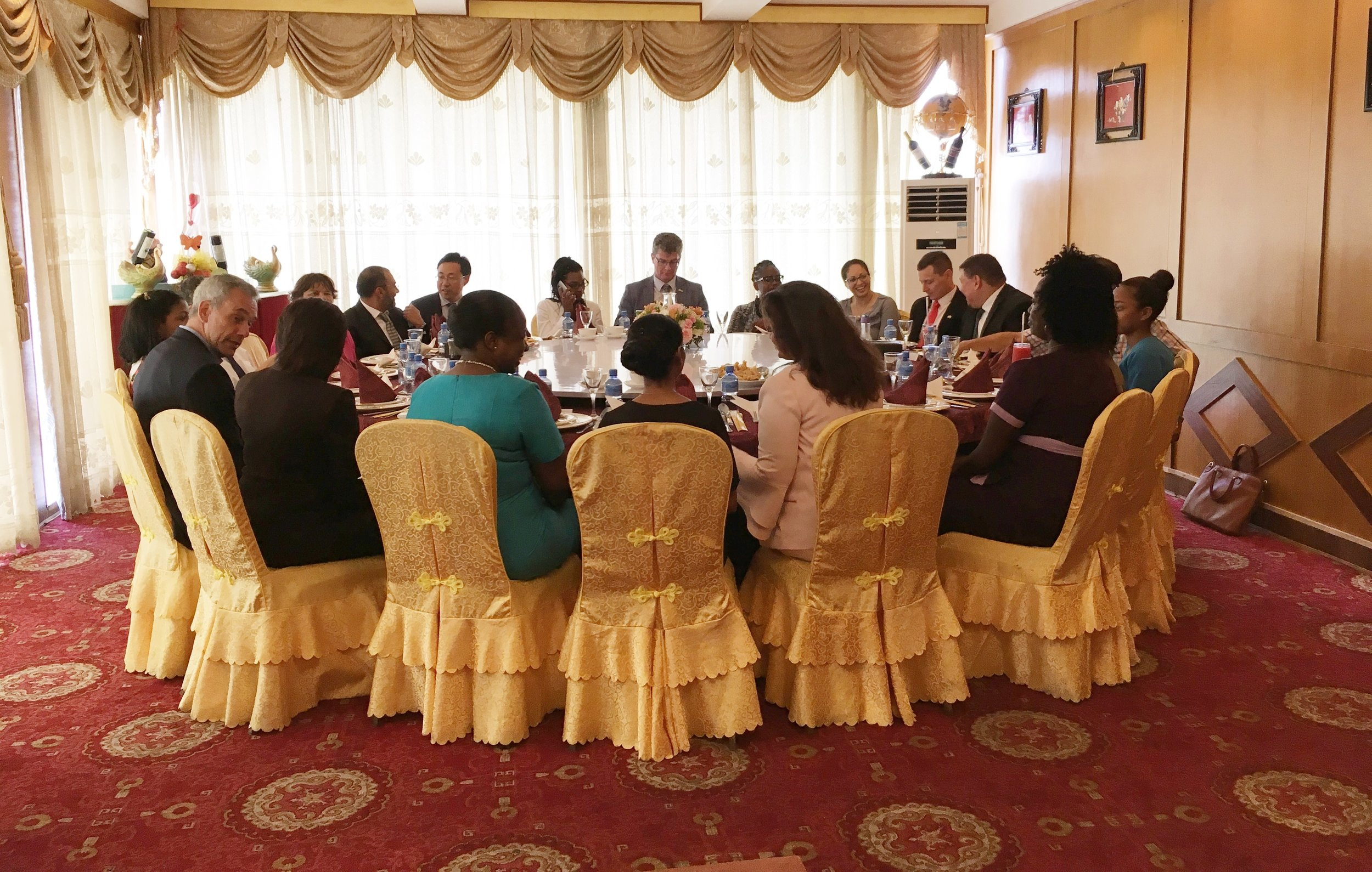Press Conference/Luncheon: The Guyana Foundation Team having lunch with Special Invitees and members of the Diplomatic Corps.