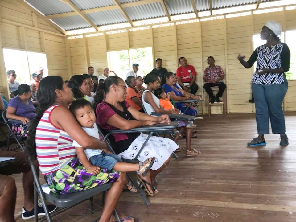 Sunrise Center Manager, Miriam Hinds speaking to residents of Mashabo.