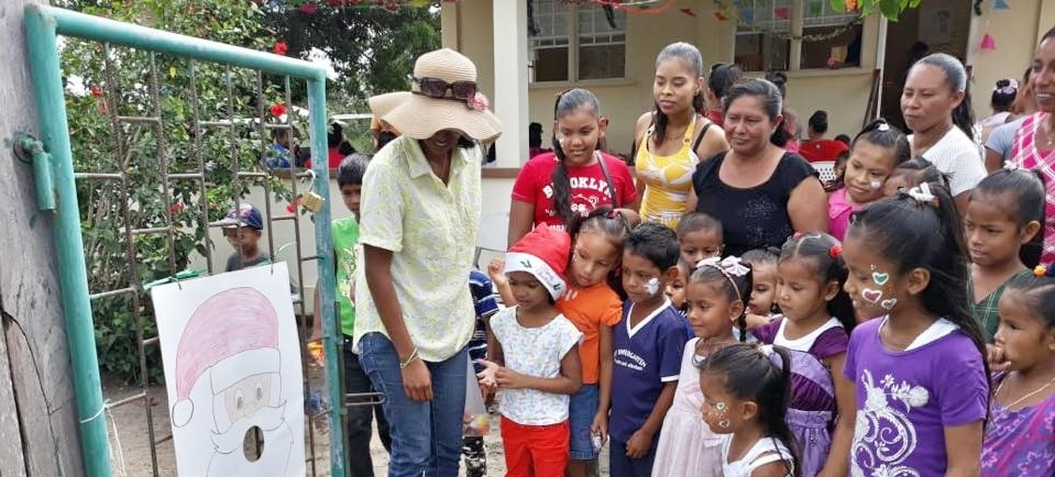 Mashabo Christmas Party - Children of Masahbo being welcome to the Health Center for their party..jpg