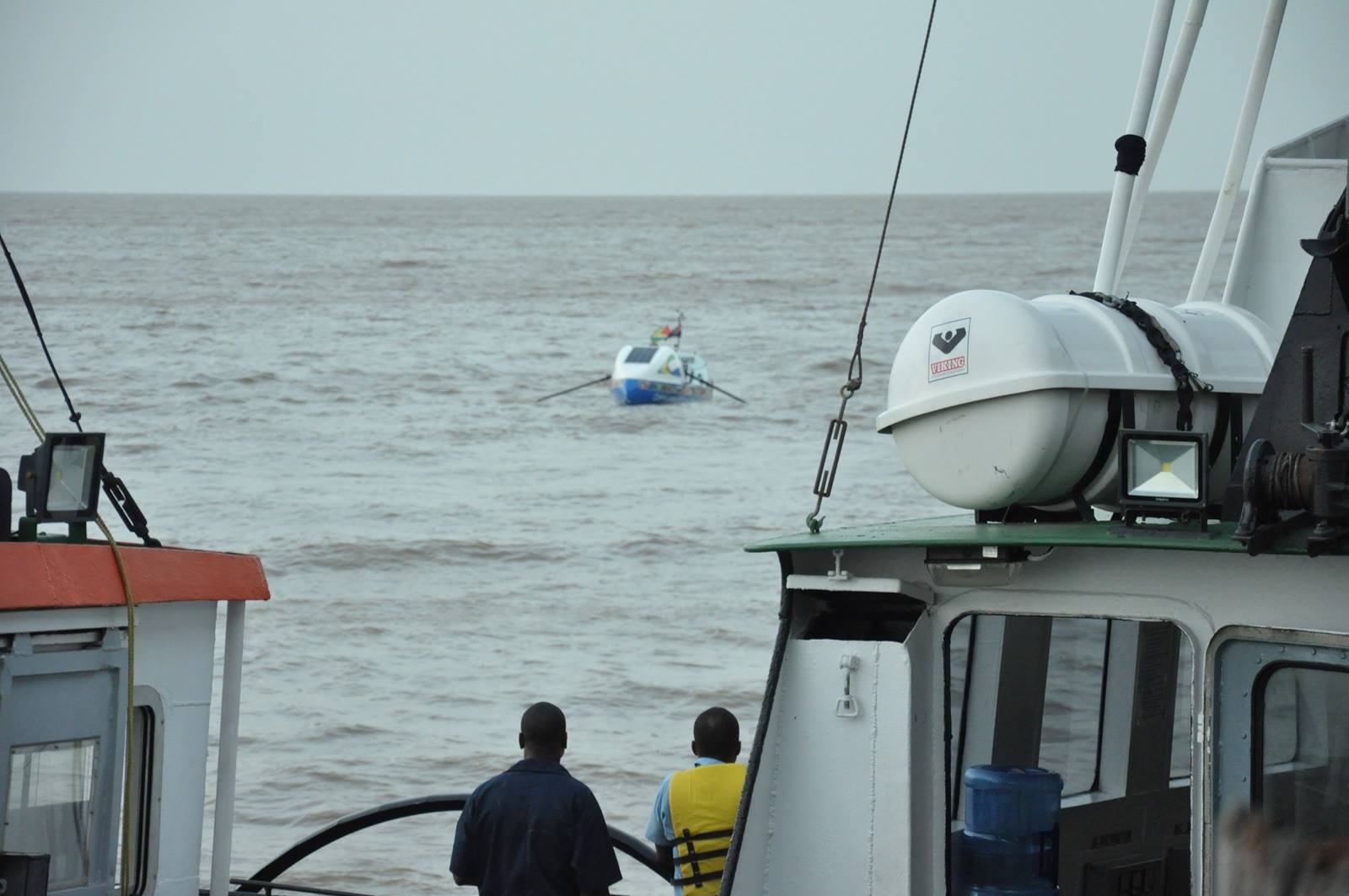 The boat, Tamu'kke, as it approaches land.