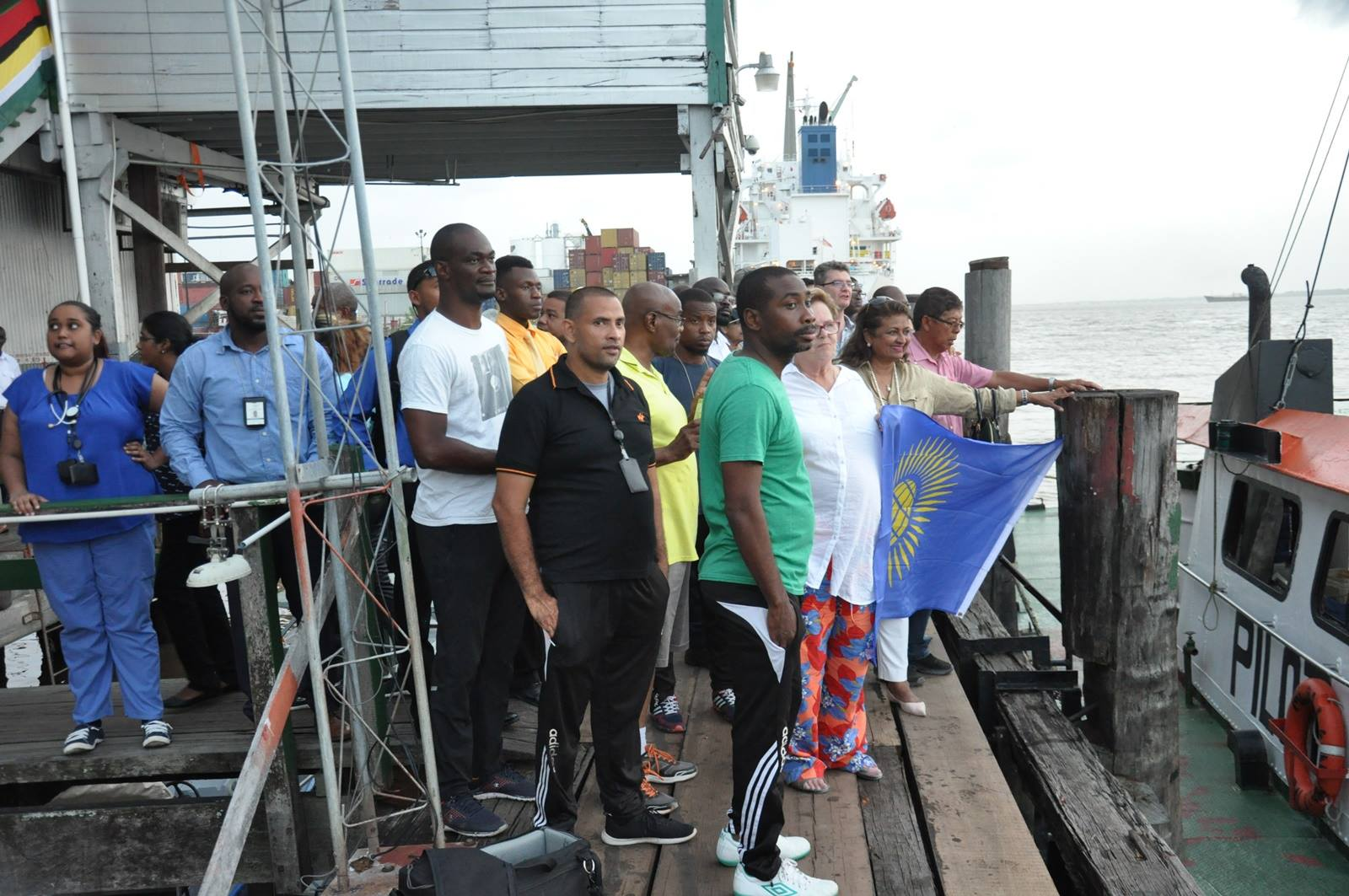 A section of the gathering at the MARAD wharf to welcome Richard.