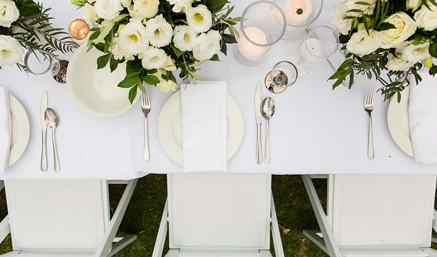 Clean, fresh and on trend styling via Main Event Group