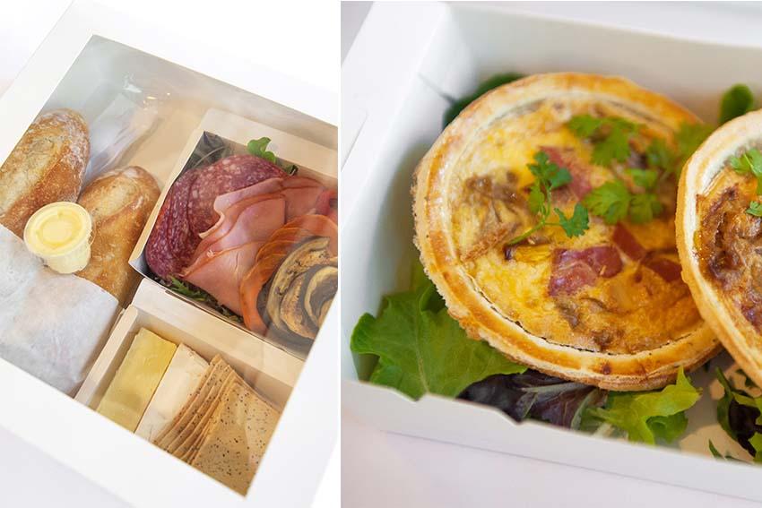 Antipasto, fresh bread, quiche tarts.