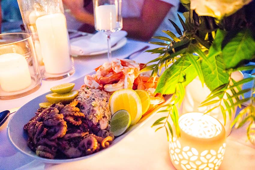 Stunning platters of marinated octopus, fresh peeled prawns and delicious smoked salmon.
