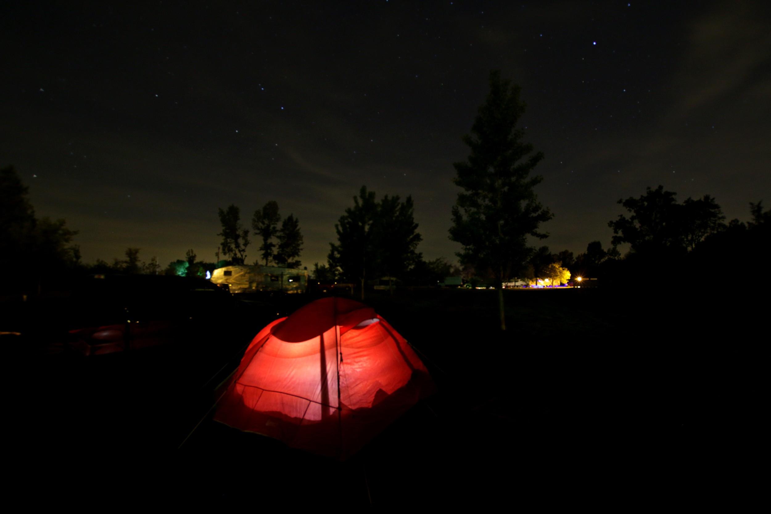 Beautiful night sky and awesome tent from Grandma and Grandpa Micik
