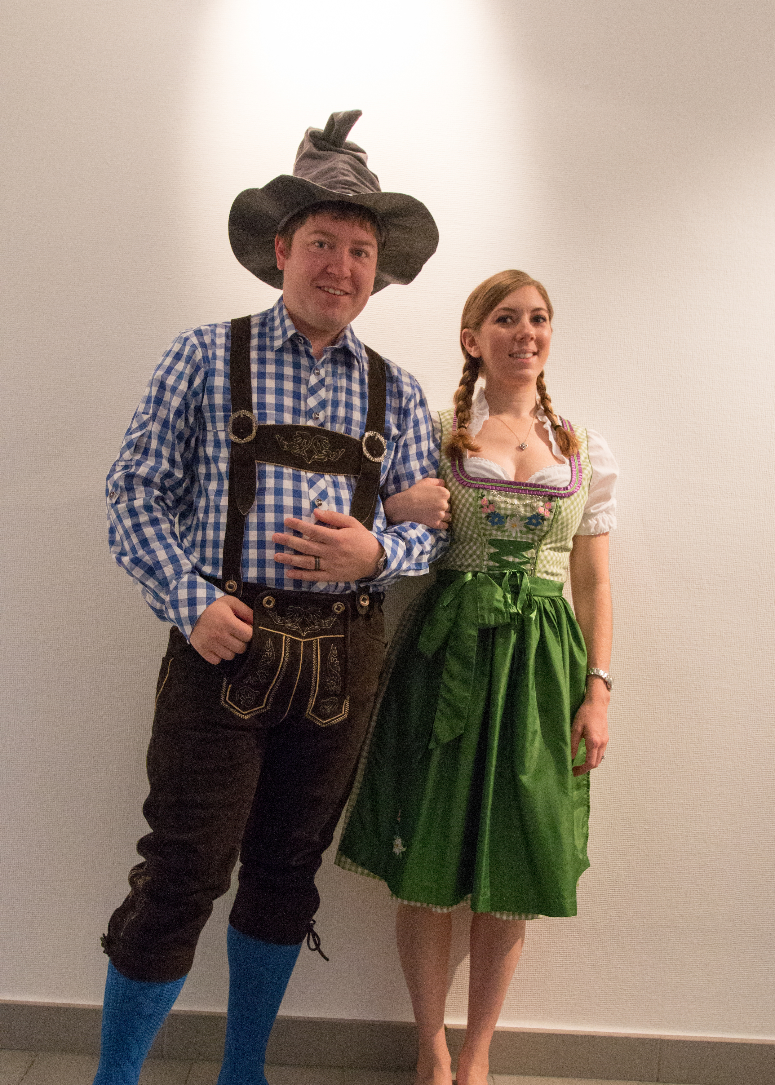 Tried to grab a quick selfie in our tracht before heading out to get on the tram to Heidelberg.