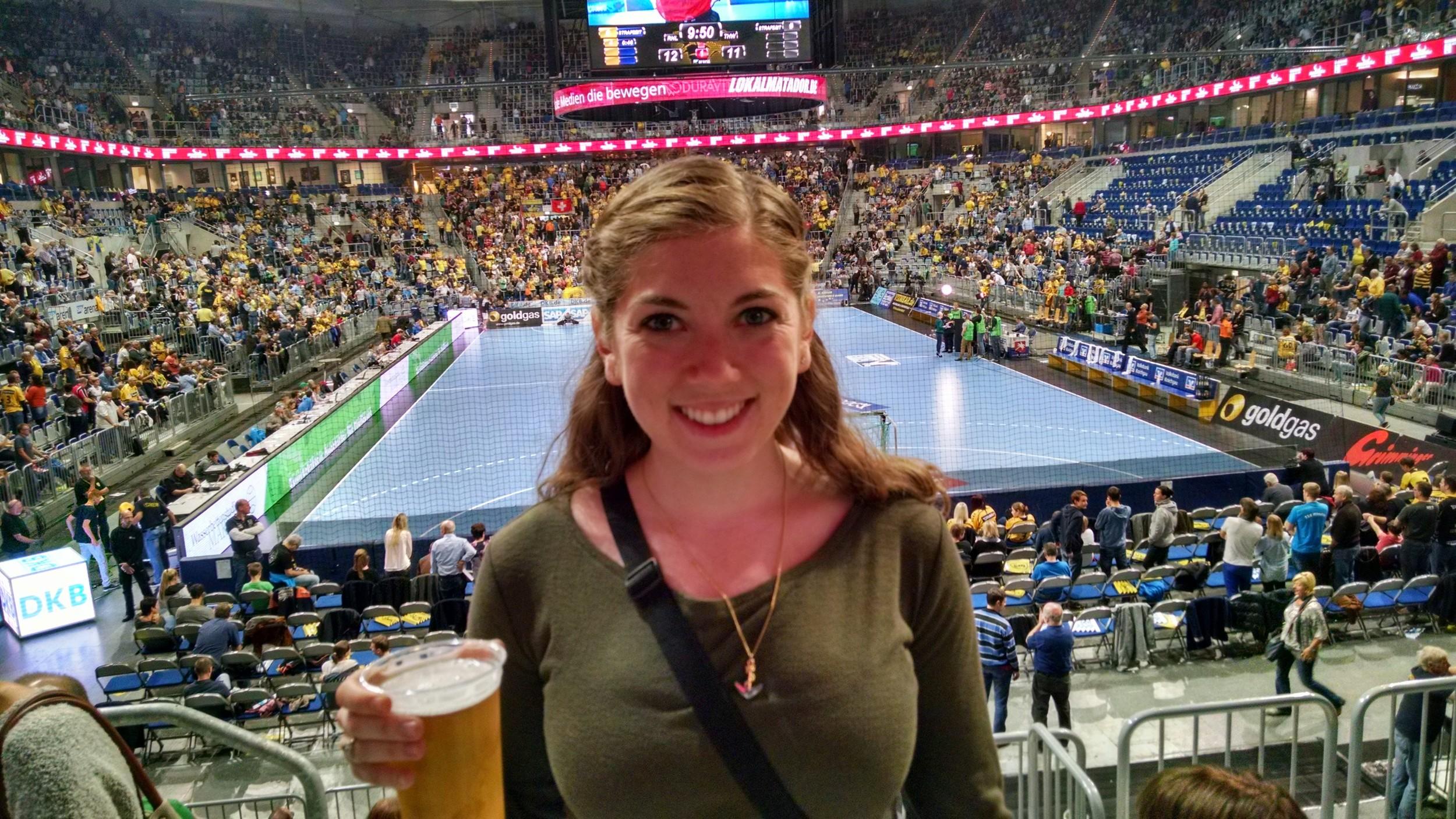 Meghan enjoying her intermission beer. As always, the beer was cheaper than water.
