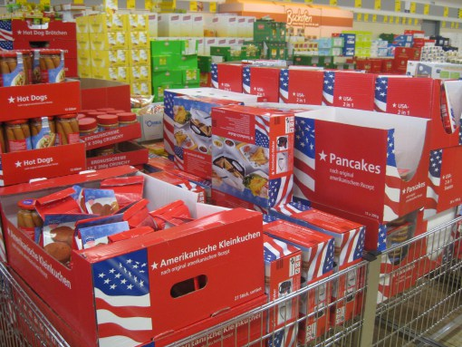 Full disclosure: I did not take this image, but nonetheless, this is a common site in grocery stores over here, especially Aldi. See how easy it is it spot amongst all the German foods?! Image borrowed from    here